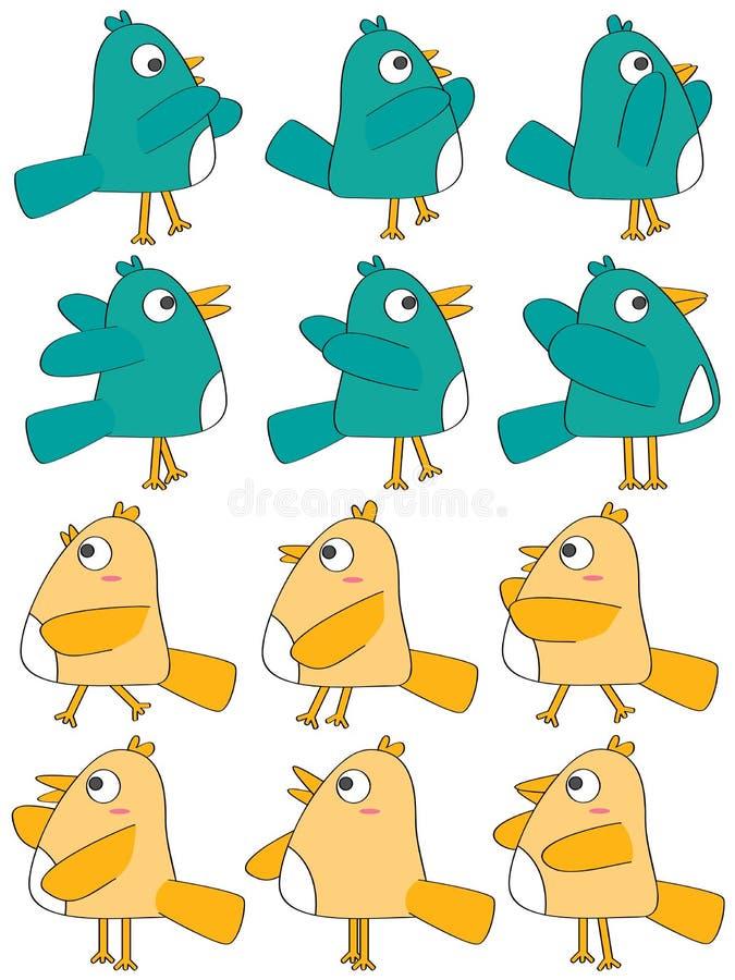 Fågeluppsättning stock illustrationer