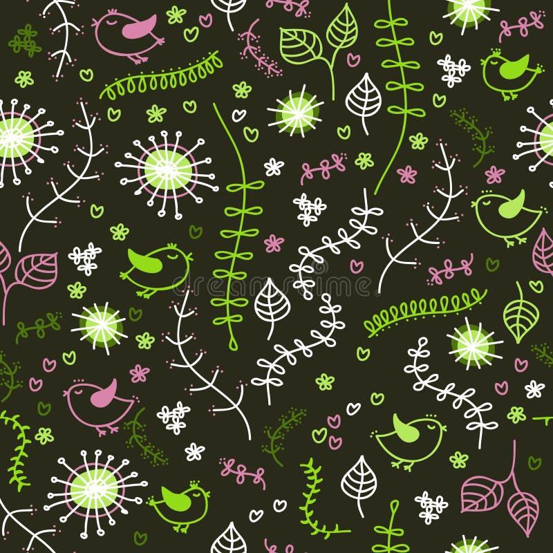 fågelväxter stock illustrationer