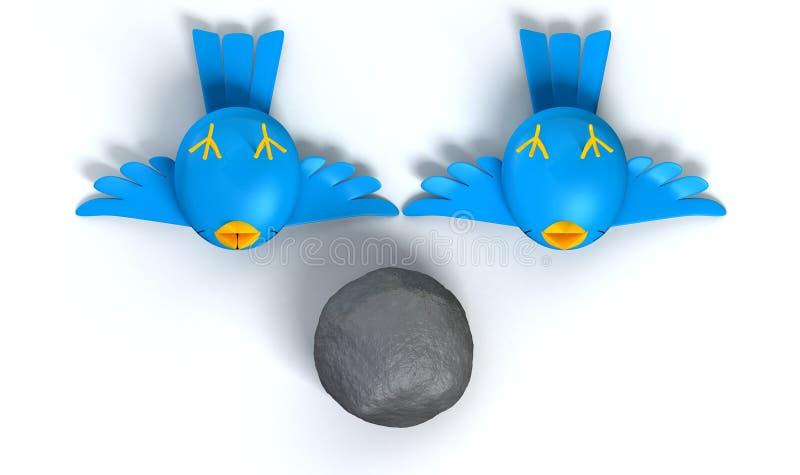 Fåglar för byte två med en sten stock illustrationer