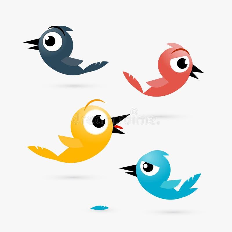 Fåglar för guling för vektor röda och blåa, royaltyfri illustrationer