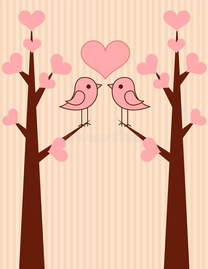 fåglar förbunde gulligt royaltyfri illustrationer