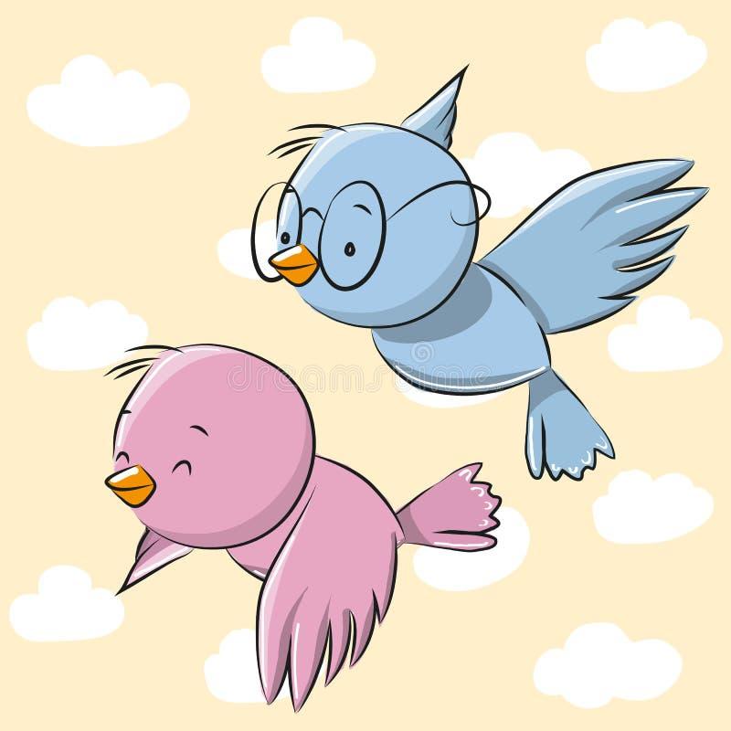 fåglar gulliga två vektor illustrationer