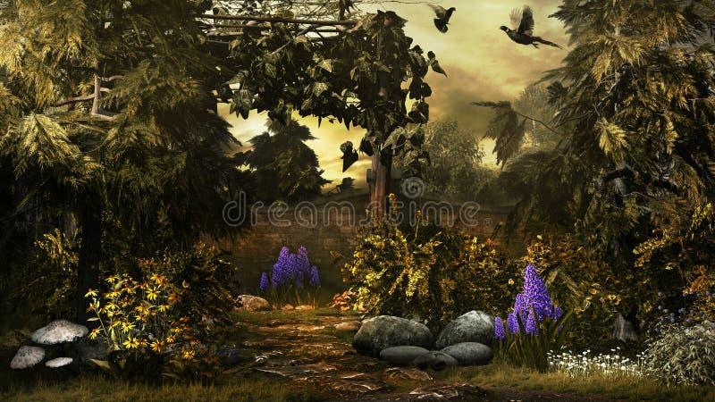 Fåglar i den guld- trädgården vektor illustrationer