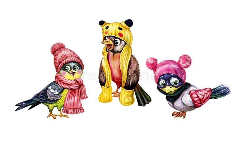 Fåglar i hattar och scarves royaltyfri illustrationer