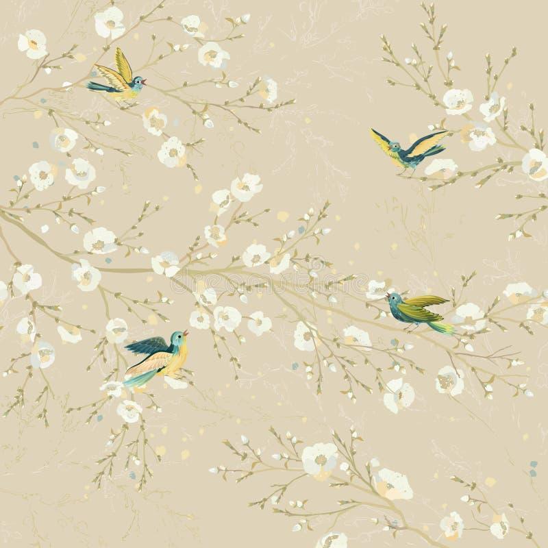Fåglar i trädgården royaltyfri illustrationer