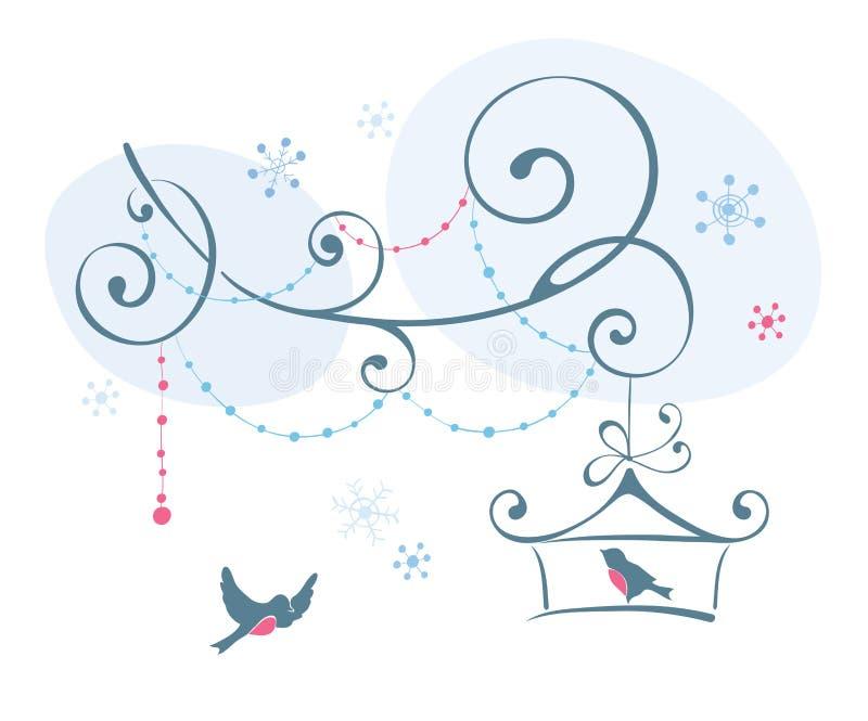 Download Fåglar i vinter vektor illustrationer. Illustration av illustration - 27279557