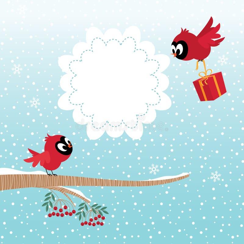 Fåglar i vinter stock illustrationer
