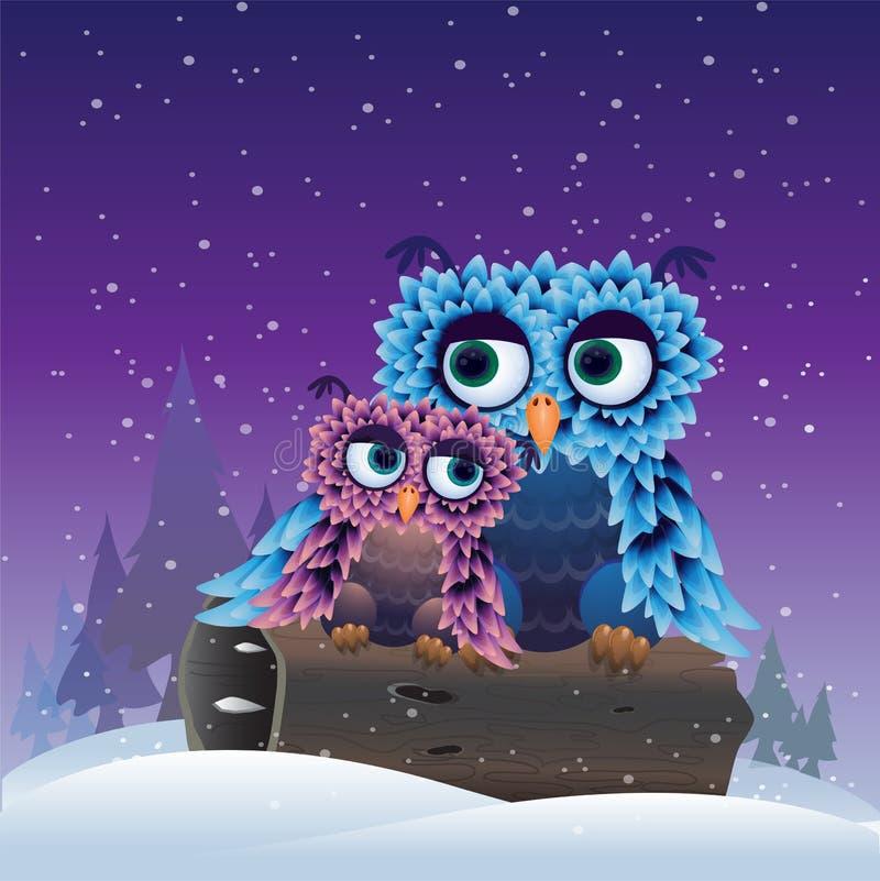 Fåglar i vintern royaltyfri illustrationer