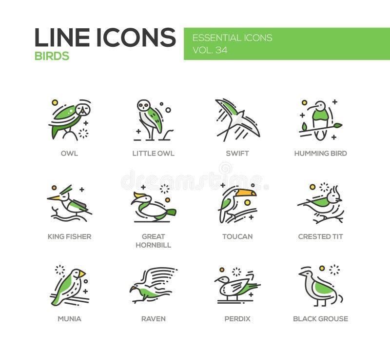 Fåglar - linje designsymbolsuppsättning stock illustrationer