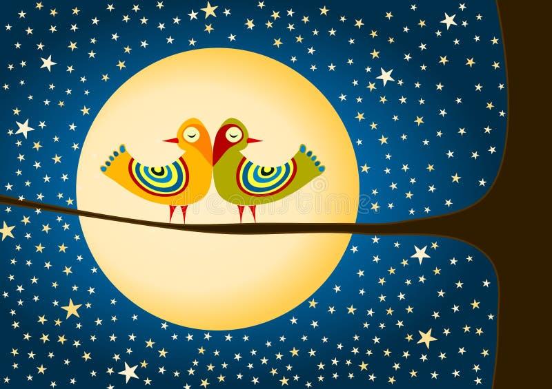 Fåglar måne och stjärnahälsningkort stock illustrationer