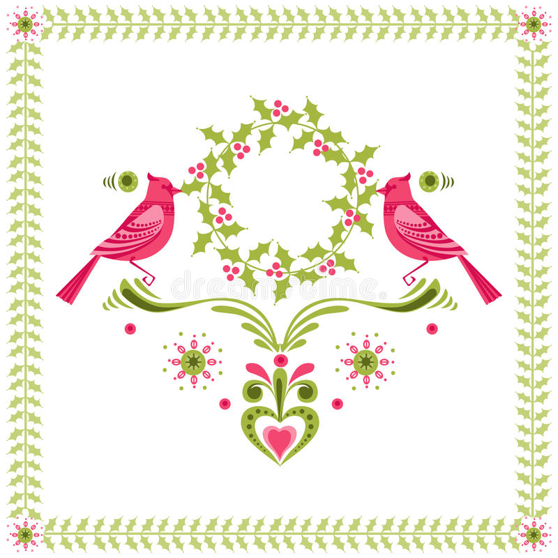 Fåglar med julkranen royaltyfri illustrationer