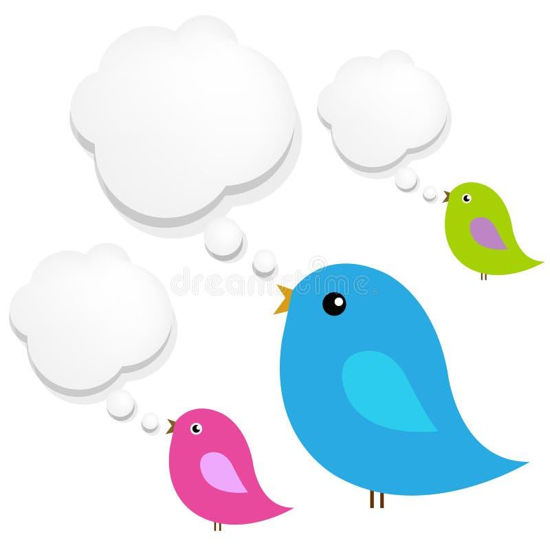 Fåglar med oklarhetsanförandebubblan stock illustrationer