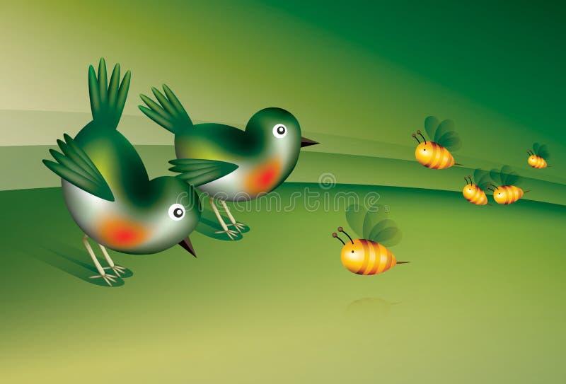 Fåglar och bina vektor illustrationer