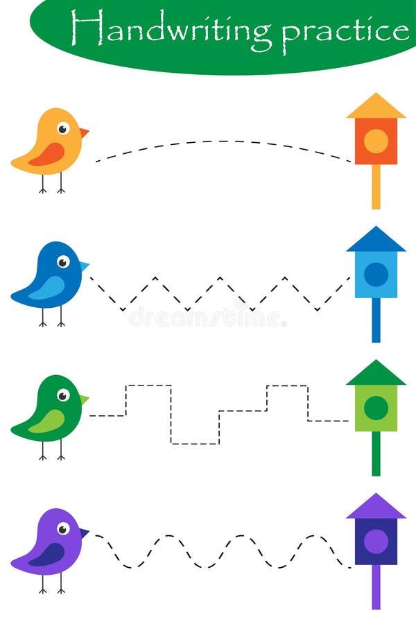 Fåglar och bygga bo askar, arket för vårhandskriftövning, förskole- aktivitet för ungar, bildande barn spelar, tryckbart royaltyfri illustrationer