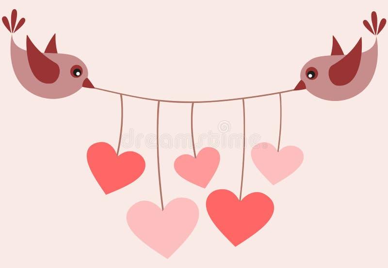 Download Fåglar och hjärtor vektor illustrationer. Illustration av vitt - 37348385