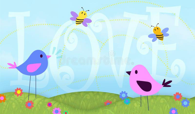 Fåglar och konsten för biförälskelsebakgrund planlägger kortvalentin vektor illustrationer