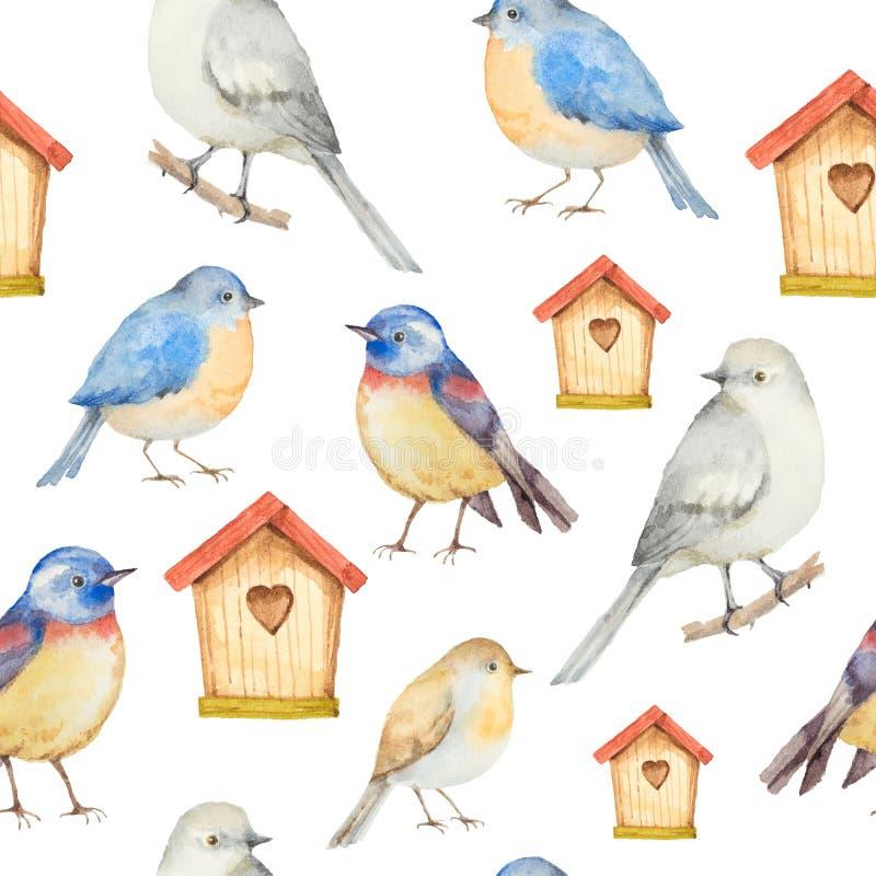 Fåglar och sömlös modell för voljärvattenfärg royaltyfri illustrationer