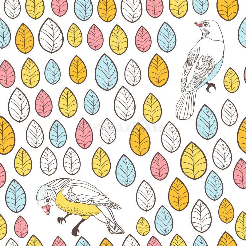 Fåglar och sidor. Sömlös bakgrund. Hand dragen vektorillustr stock illustrationer