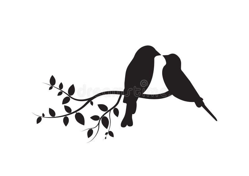 Fåglar på filial, väggdekaler, kopplar ihop av förälskade fåglar, fågelkontur på filialen som isoleras på vita lodisar vektor illustrationer