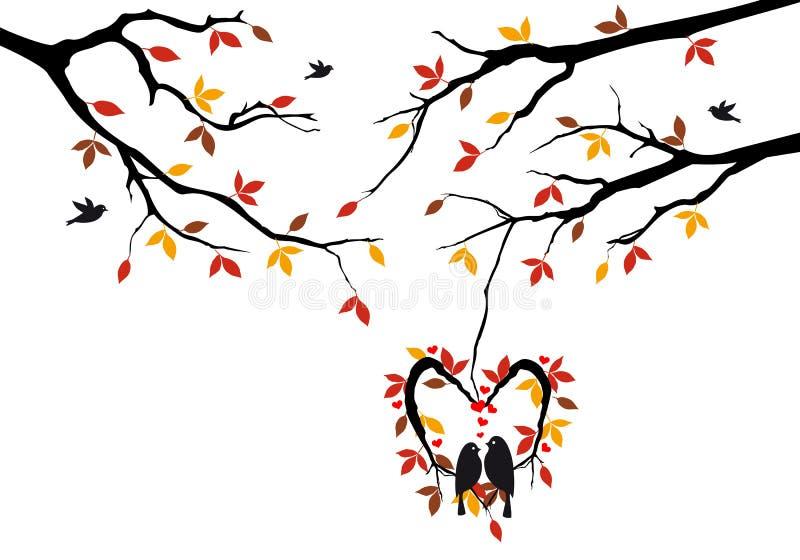 Fåglar på hösttree i hjärta nest, vektorn stock illustrationer