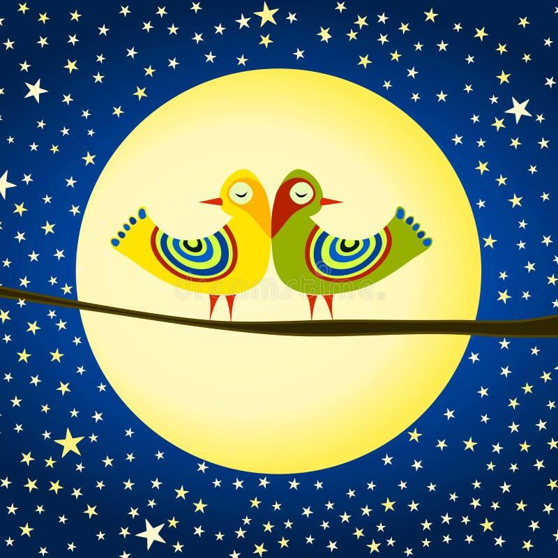 Fåglar på kortet för månevalentindag stock illustrationer