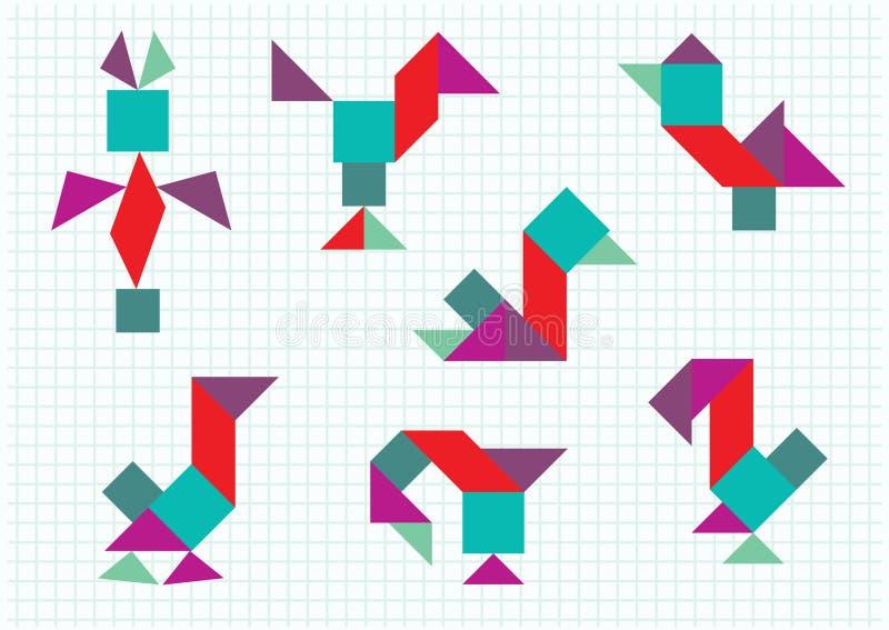 Fåglar på lantgårdtangramen stock illustrationer