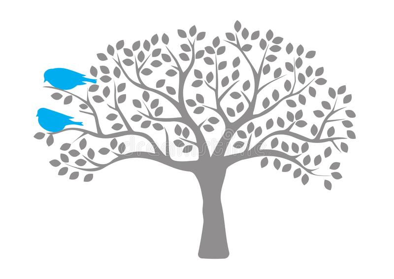 Fåglar på träd, fåglar på filialen, fågelkontur, färgrika fåglar, Art Design, väggkonst, väggdekaler royaltyfri illustrationer