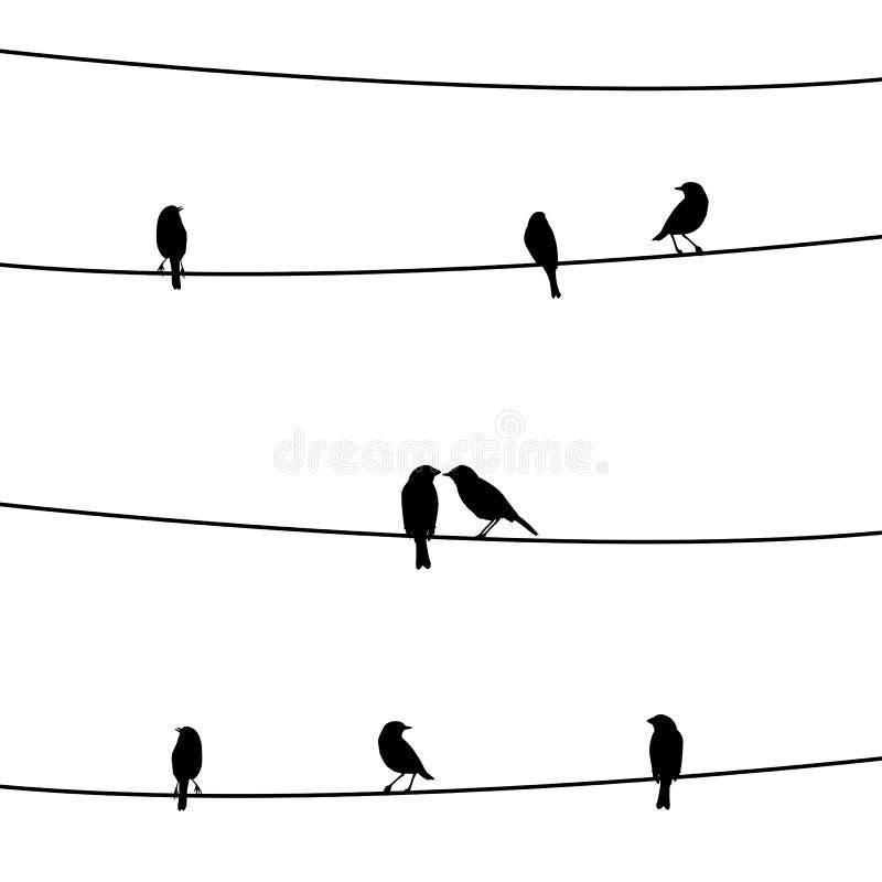 Fåglar på wire1en vektor illustrationer