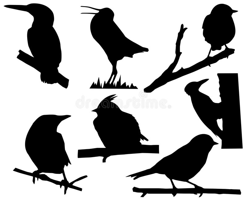 fåglar silhouette litet stock illustrationer