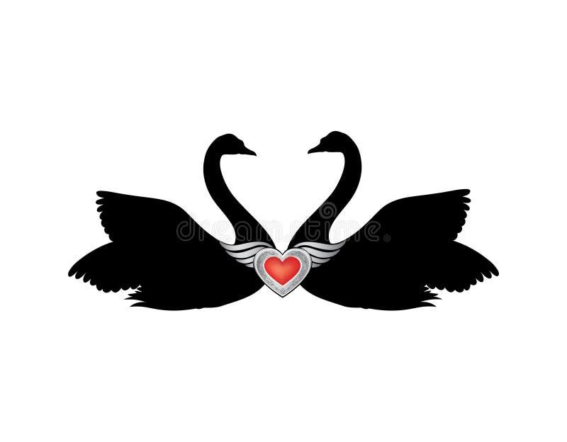 Fåglar som är förälskade med bevingad röd hjärtagarnering Koppla ihop av swans vektor illustrationer