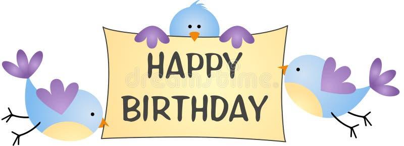 Fåglar som bär lycklig födelsedag för meddelande stock illustrationer