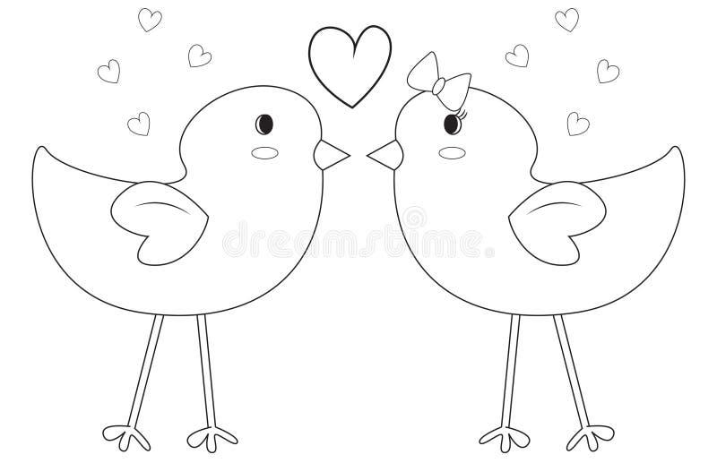 Fåglar som färgar sidan vektor illustrationer