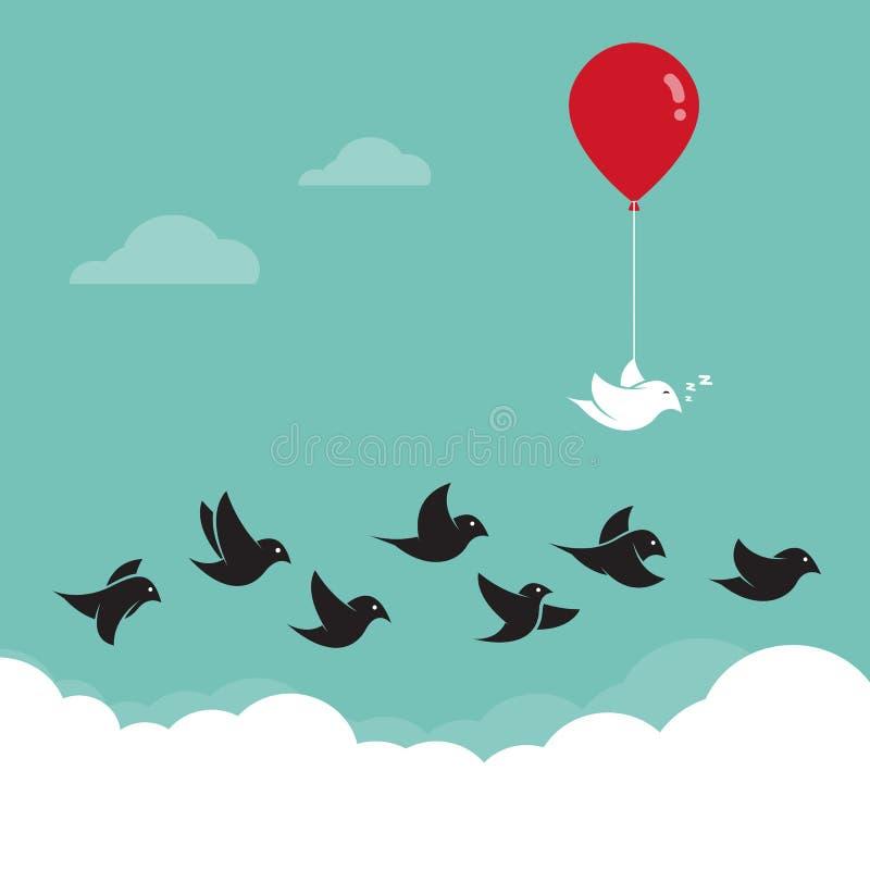 Fåglar som flyger i himlen och de röda ballongerna stock illustrationer