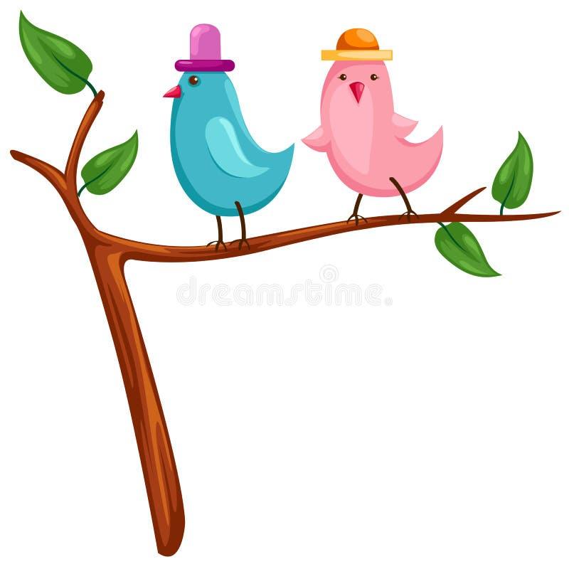 fåglar två royaltyfri illustrationer