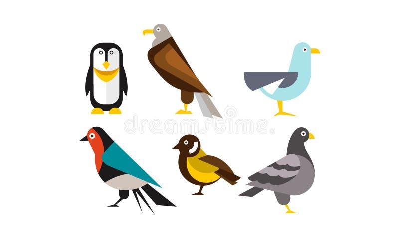 Fåglar uppsättning, pingvin, örn, fiskmås, duvavektorillustration vektor illustrationer