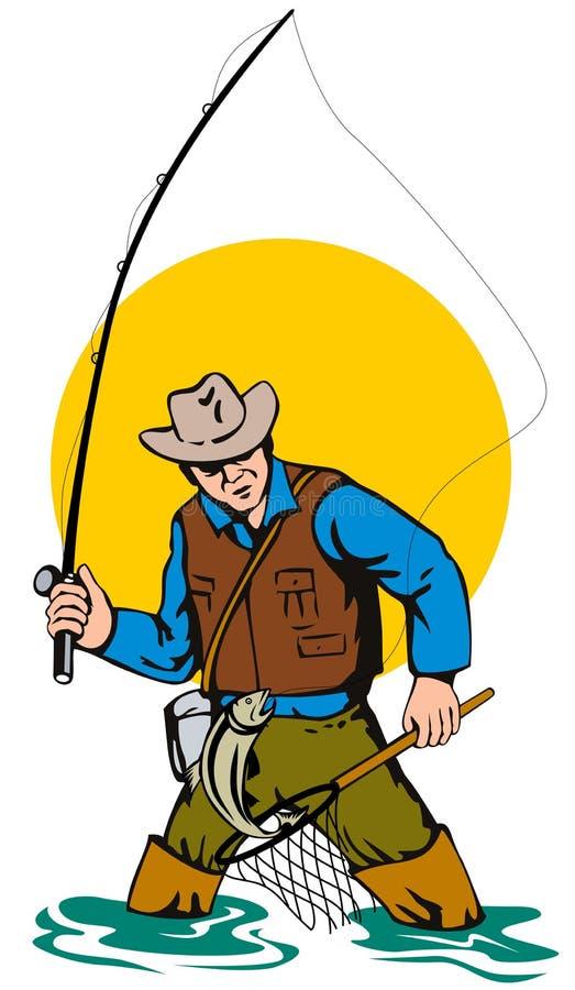 fångande klipsk leapi för fiskare vektor illustrationer