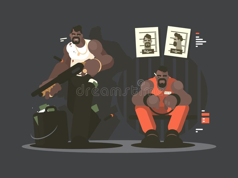 Fånge i arrest royaltyfri illustrationer