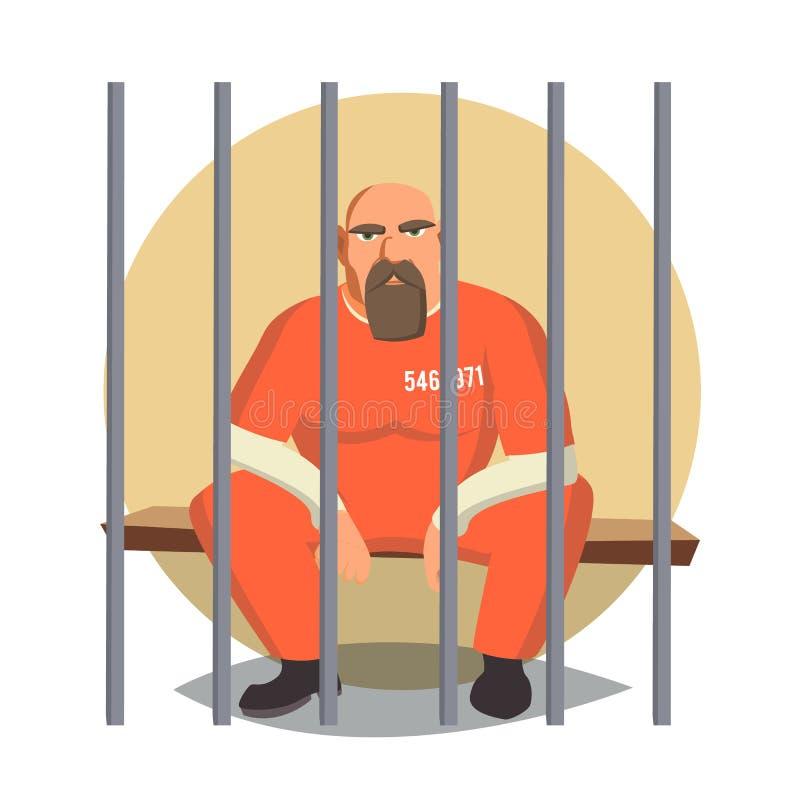 Fånge i arrestvektor Gangstaman som arresteras och låsas Plan tecknad filmillustration vektor illustrationer