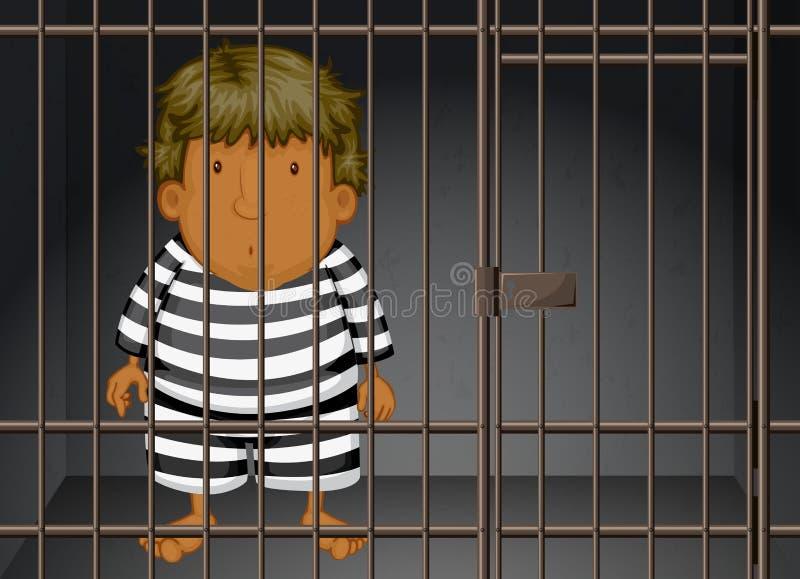 Fånge som är inlåst fängelset royaltyfri illustrationer