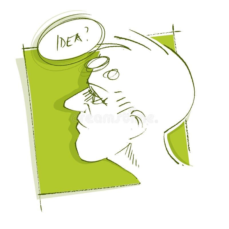 Download Fången Head Fundersam Symbolsidéman Vektor Illustrationer - Illustration av idérikt, kronärtskockan: 19775131