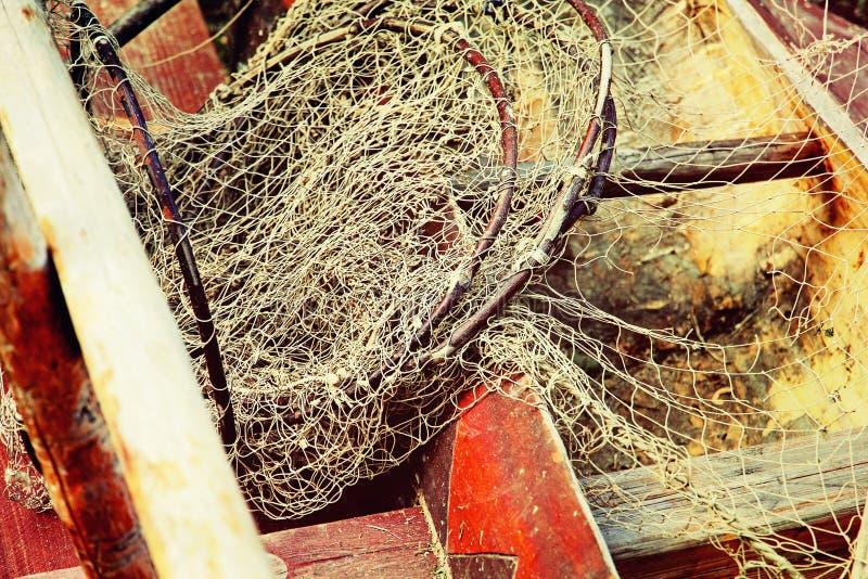 Fångstredskap i gammalt träfartyg tagen closeup fotografering för bildbyråer