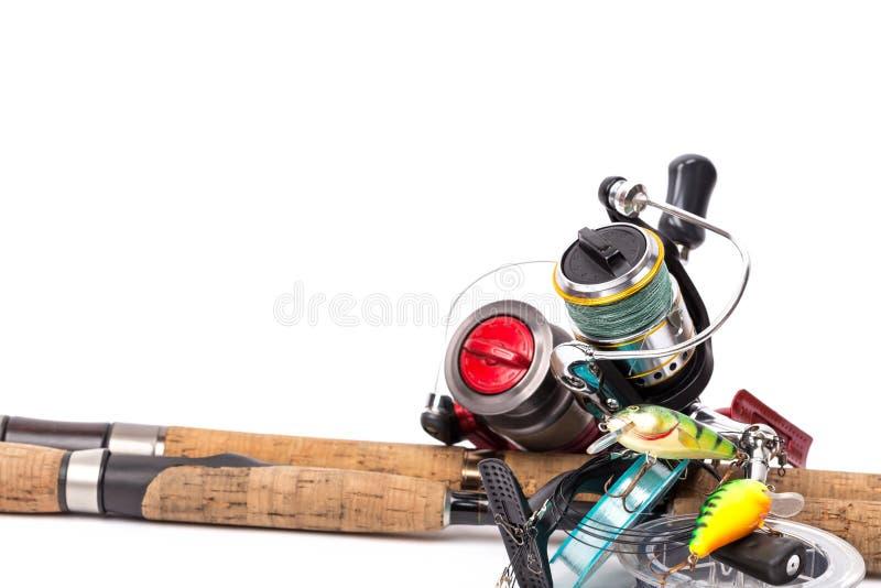 Fångstredskapstänger, rullar, linje, lockar royaltyfri foto