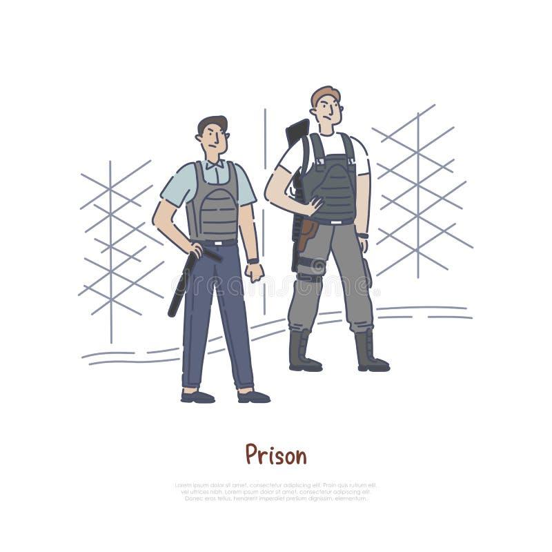 Fångvaktare med hjälpmedel och utrustning, tjänstgörande tjänsteman, beväpnad soldat på gränsen, arrestvägg, staketbaner royaltyfri illustrationer