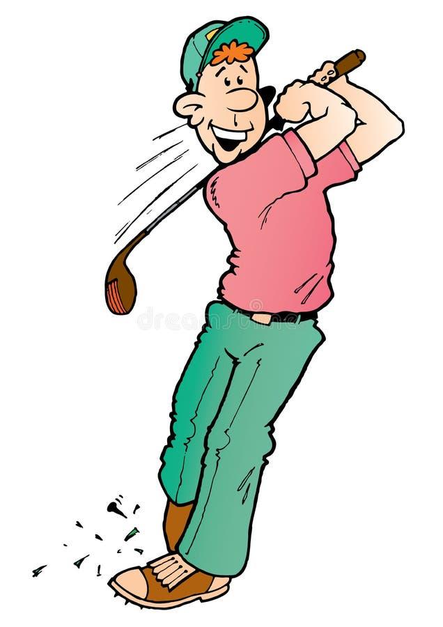 fånig golfare royaltyfri illustrationer