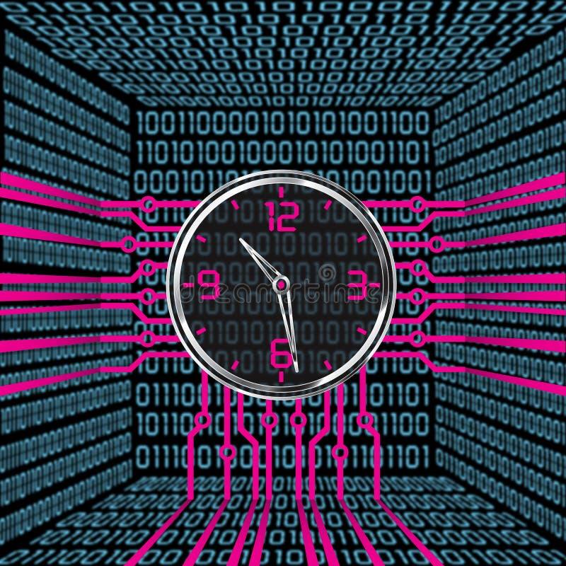 får den digitala siffrapåfyllningen för klockan bara onödigt övre för ljusdiod rakt till stock illustrationer