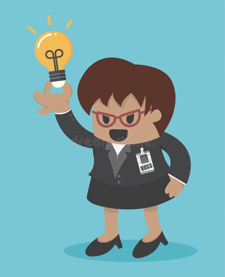 Får det stora framstickandet för affärskvinnan en idé vektor illustrationer
