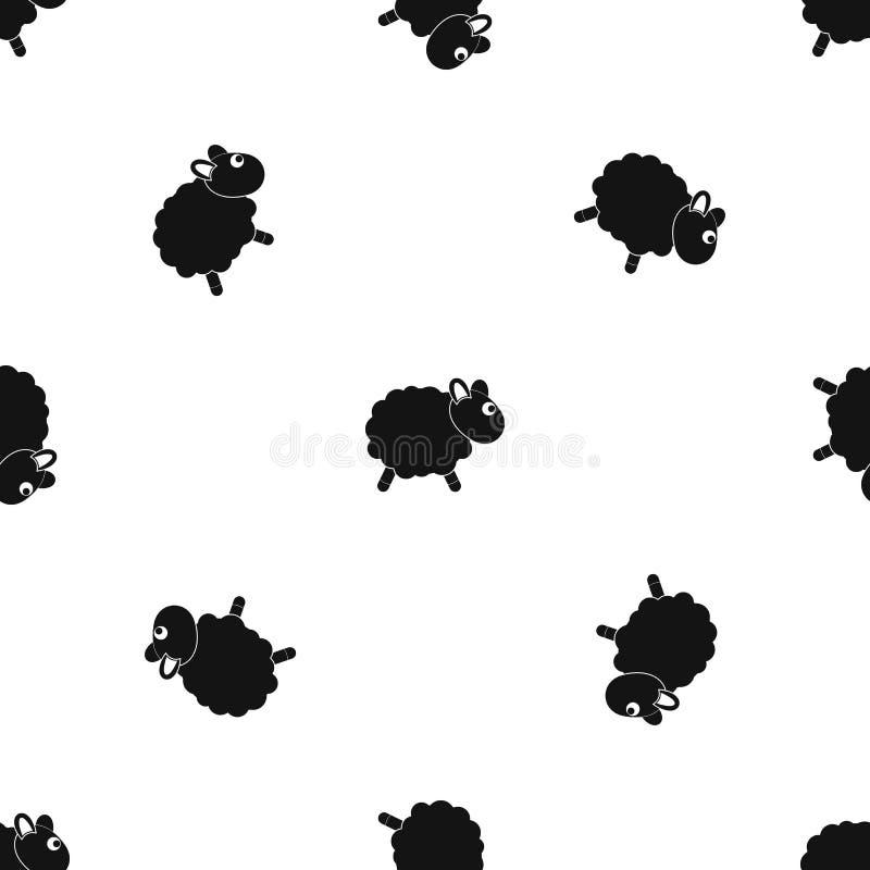 Får mönstrar sömlös svart vektor illustrationer