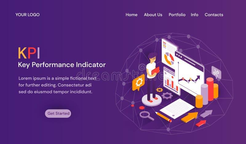 Får mallen för websiten för indikatorn KPI för den nyckel- kapaciteten med titelradflikar, rum för text ovanför den startade knap vektor illustrationer
