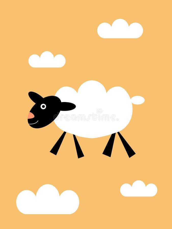 Får som svävar i molnen stock illustrationer