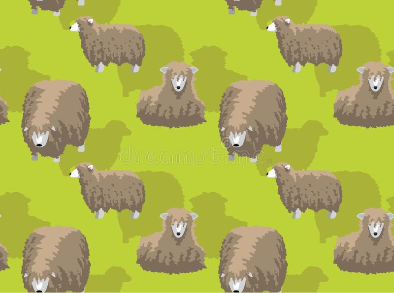 FårLincoln Longwool Cartoon Background Seamless tapet vektor illustrationer